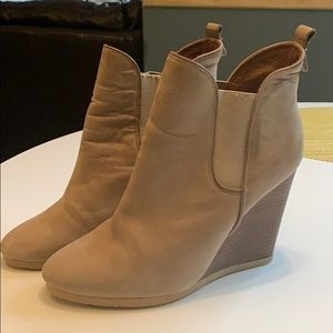 COACH Farah Leather Wedge Ankle Booties Size 8.5